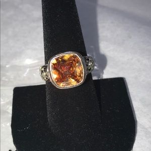 Sterling Silver Nickel Free whiskey citrine ring 9